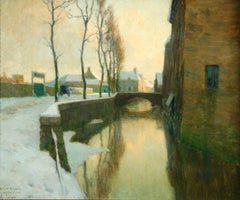 Winter Sunset - Impressionist Oil, River in Snowy Landscape by Alexandre Jacob