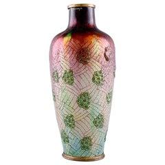 Alexandre Marty for Limoges, France, Art Nouveau Bronze Vase in Enamel Work