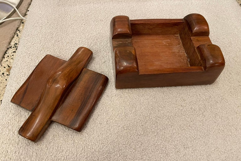 Alexandre Noll, Wood Box, circa 1950, France 'Signed' For Sale 3
