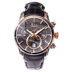 Alexandre Renoir Stainless Steel Sapphire Crystal Chronograph Leather Watch