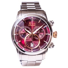 Alexandre Renoir Stainless Steel Sapphire Crystal Chronograph Link Strap Watch