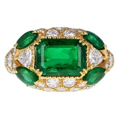 Alexandre Reza Emerald Diamond Cluster Cocktail Ring