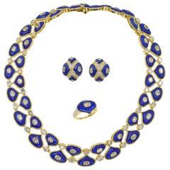 Alexandre Reza Lapis Lazuli and Diamond Ring in 18k Yellow Gold