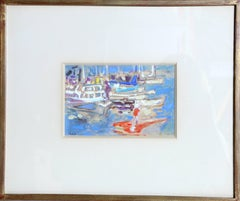 Boats in Harbor, Signed 1950's Gouache Painting by Alexandre Sacha Garbell
