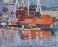 Orange Ship in Harbor, 1950's Gouache Painting by Alexandre Sacha Garbell