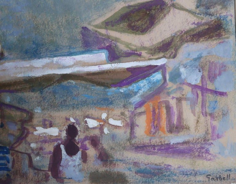 Tropez, Signed 1950's Gouache Painting by Alexandre Sacha Garbell For Sale 1