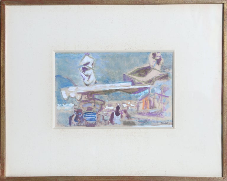 Artist: Alexandre Sacha Garbell, French (1903 - 1970) Title: Tropez Year: circa 1958 Medium: Gouache on Paper, signed  Image Size: 6 x 9.5 inches Frame Size: 14.5 x 18 inches