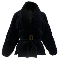 Alexandre Vauthier Black Cropped Belted Puffer Jacket SIZE XS