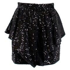 Alexandre Vauthier Black Sequin Ruffled Mini Skirt S 40
