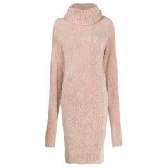 Alexandre Vauthier Cable Knit Turtleneck Midi Dress