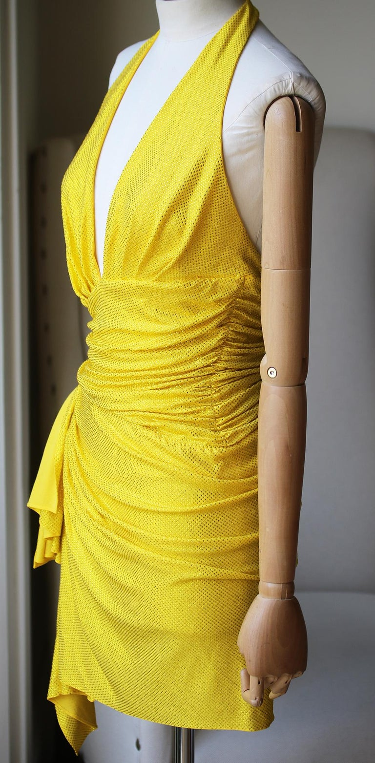 Yellow Alexandre Vauthier Crystal-Embellished Halter Mini Dress  For Sale