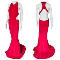 Alexandre Vauthier Cutout Backless Red Evening Dress Gown