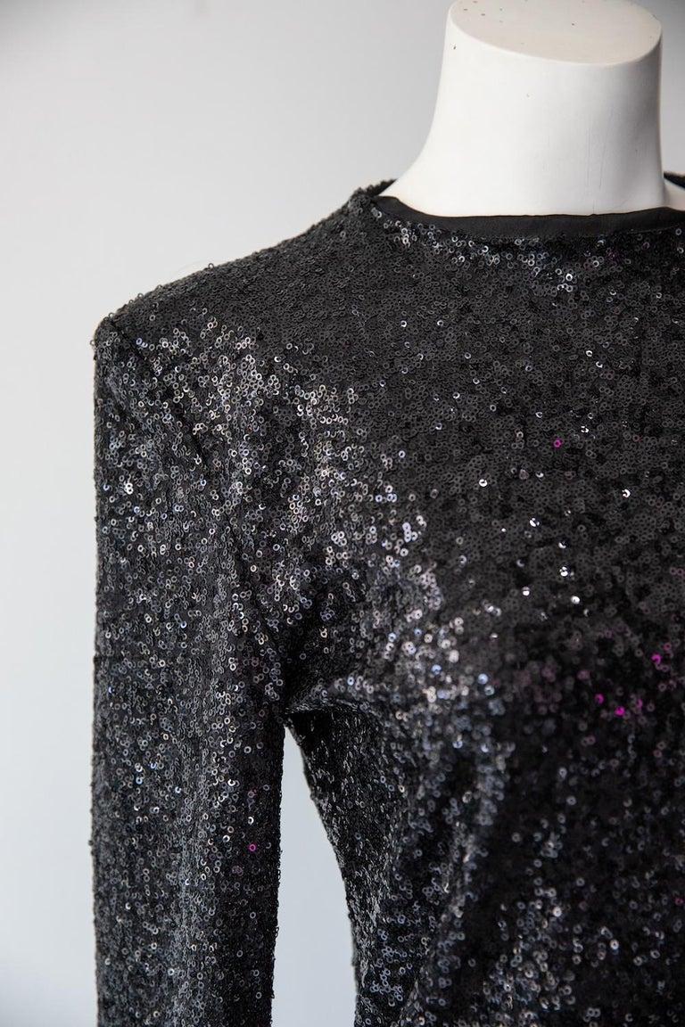 Black Alexandre Vauthier Long Sleeve Sequin Mini Dress For Sale