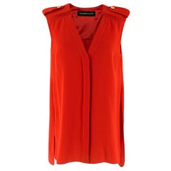 Alexandre Vauthier Silk Sleeveless Top With Buttoned Shoulders  M  38