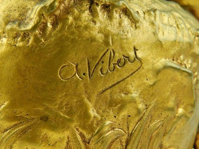 19th Century Alexandre Vibert Dore Bronze Pitcher For Sale