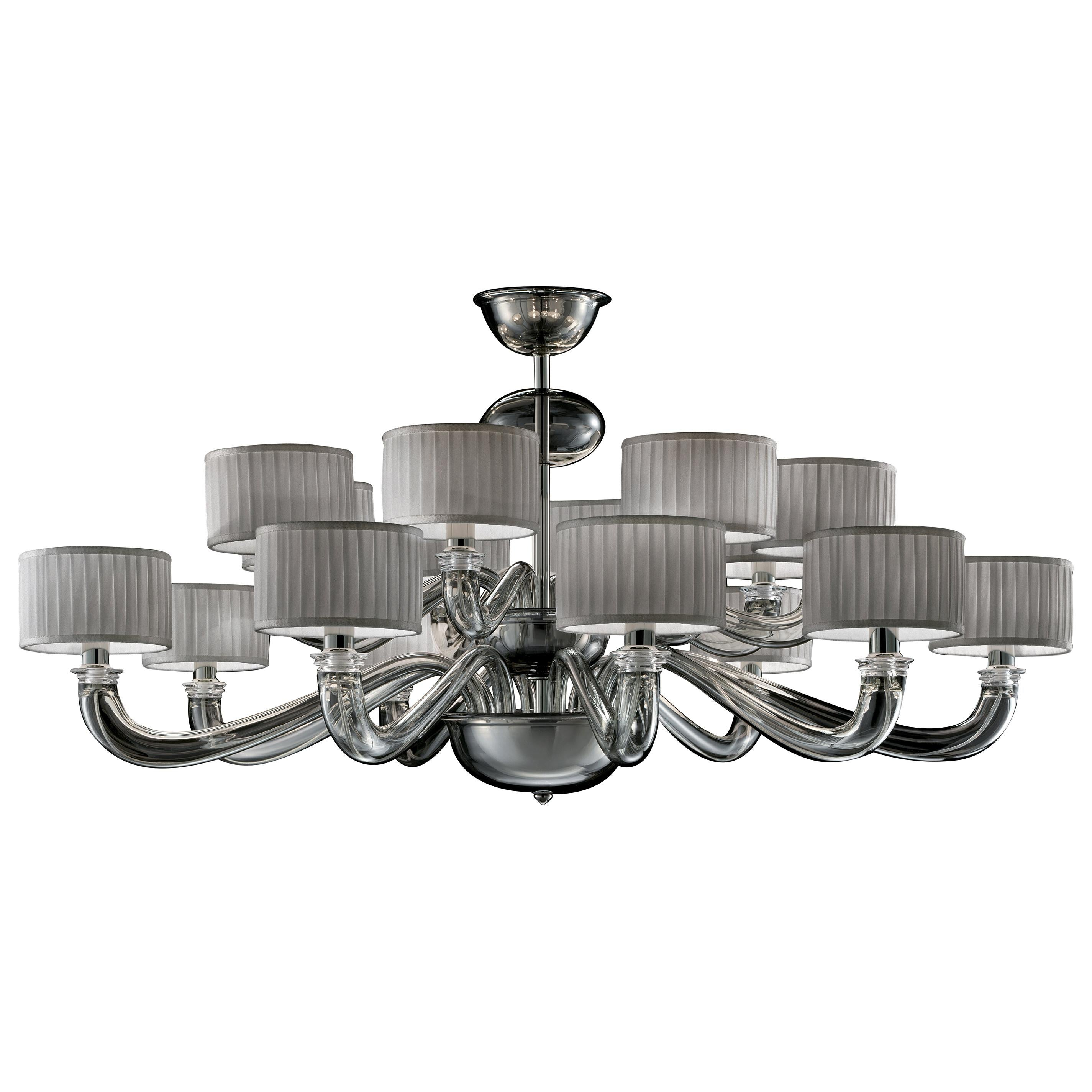 Alexandria 5597 16 Chandelier in Glass with Grey Shade, by Barovier&Toso