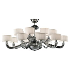 Alexandria 5597 16 Chandelier in Glass with White Shade, by Barovier&Toso
