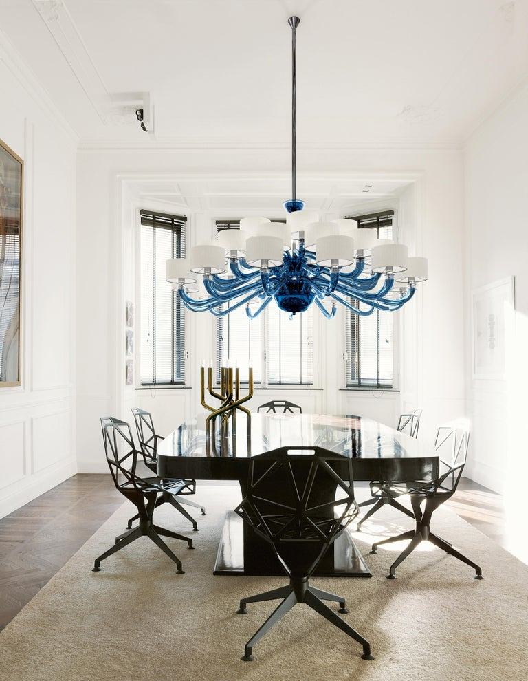 Blown Glass Alexandria 5597 24 Chandelier in Glass with White Shade, by Barovier&Toso For Sale