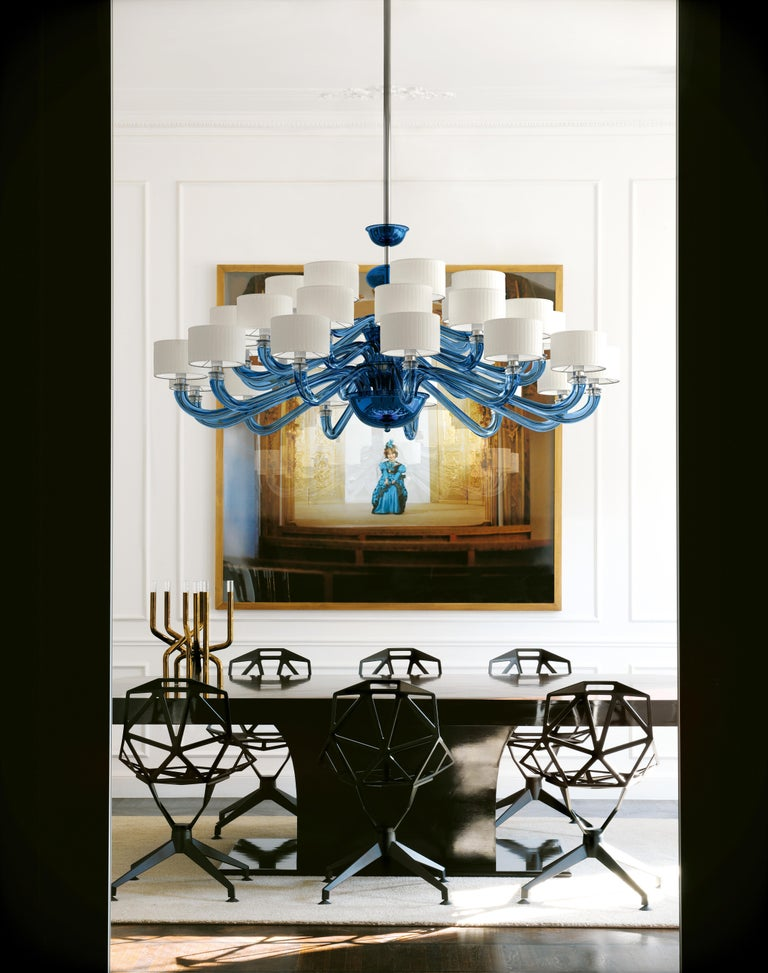 Alexandria 5597 24 Chandelier in Glass with White Shade, by Barovier&Toso For Sale 1