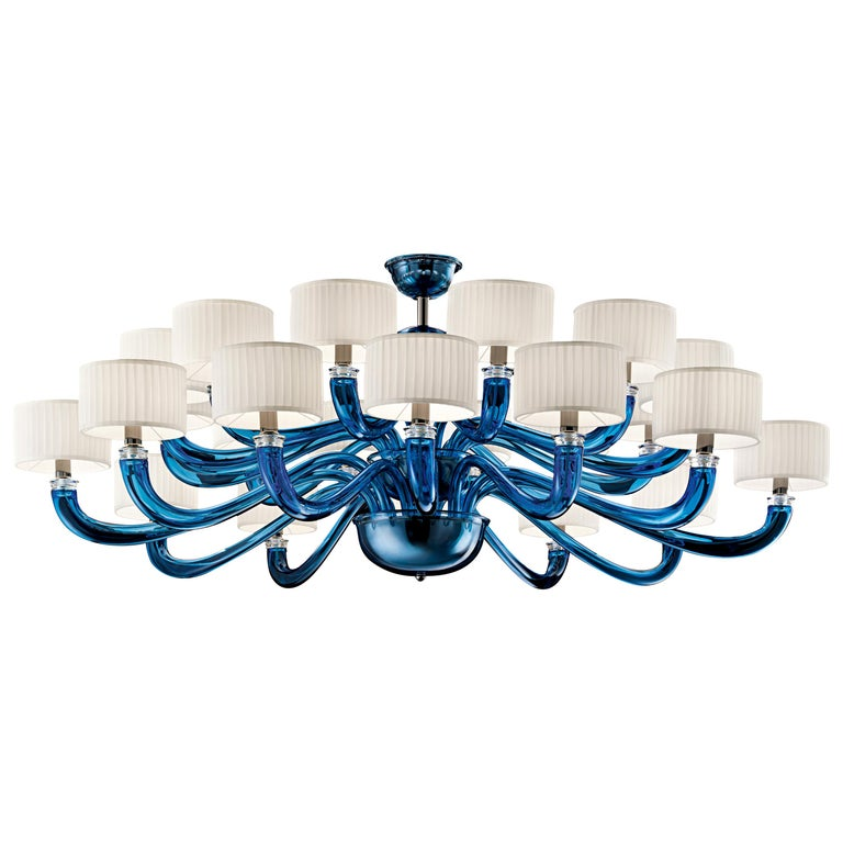 For Sale: Blue (Bluastro_LQ) Alexandria 5597 24 Chandelier in Glass with White Shade, by Barovier&Toso