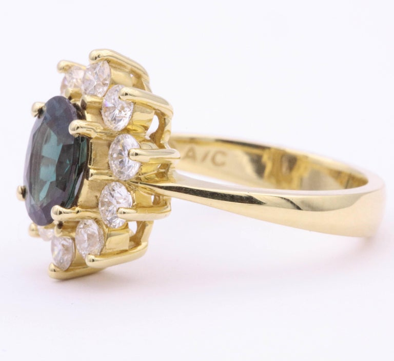Oval Cut Alexandride Lady Diana Ring with GUB Certificate 1.73 Carat For Sale