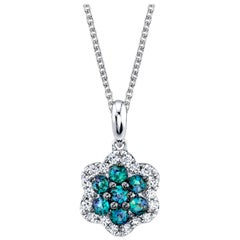 Alexandrite and Diamond 18k White Gold Pendant Necklace
