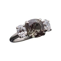Alexandrite and Diamonds Ring in Platinum