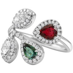 Alexandrite and Ruby Pear Diamond Marquise Halo White Gold Cocktail Fashion Ring