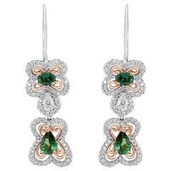 Alexandrite Diamond Halo Two-Color Gold Dangle Fashion Earrings