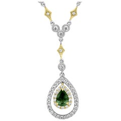Alexandrite Diamond Round Double Halo Two Color Gold Diamond by Yard Necklace