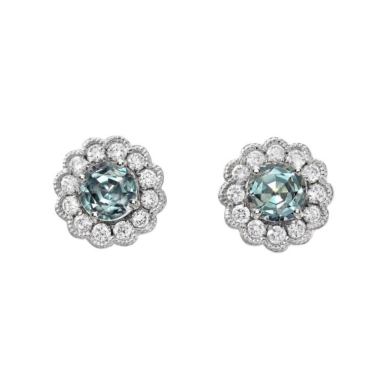 Contemporary Alexandrite Earrings Studs 0.92 Carats Total For Sale