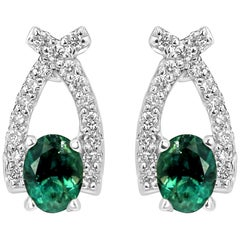 Alexandrite Oval White Diamond Round Gold Fashion Earring