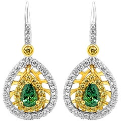Alexandrite Pear Round Diamond Double Halo Two-Color Gold Dangle Drop Earring