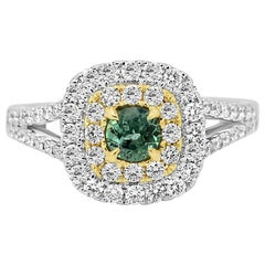 Alexandrite Round White Diamond Double Halo Two Color Gold Bridal Fashion Ring