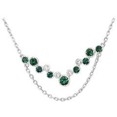 Alexandrite Round White Diamond Gold Necklace