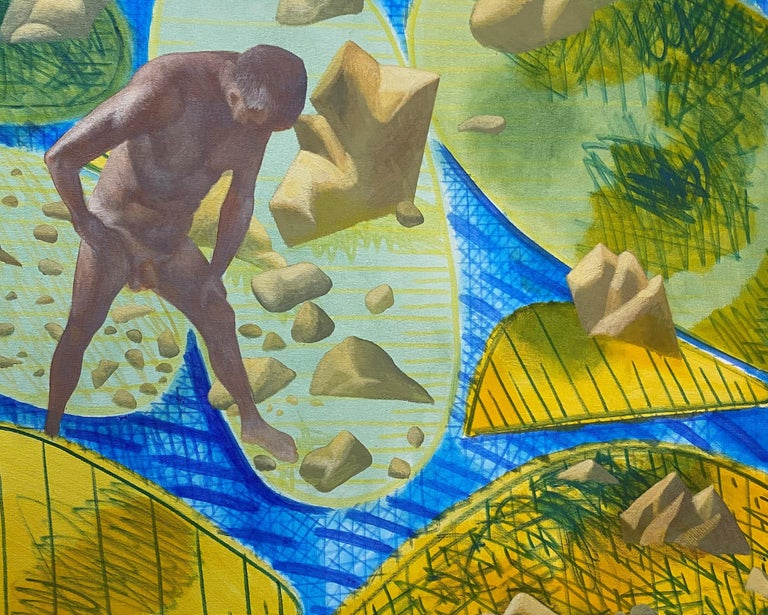 A Quiet Day - Yellow, Green, Blue, Male, Nude, Nature, Contemporary Art - Painting by Alexandru Rădvan