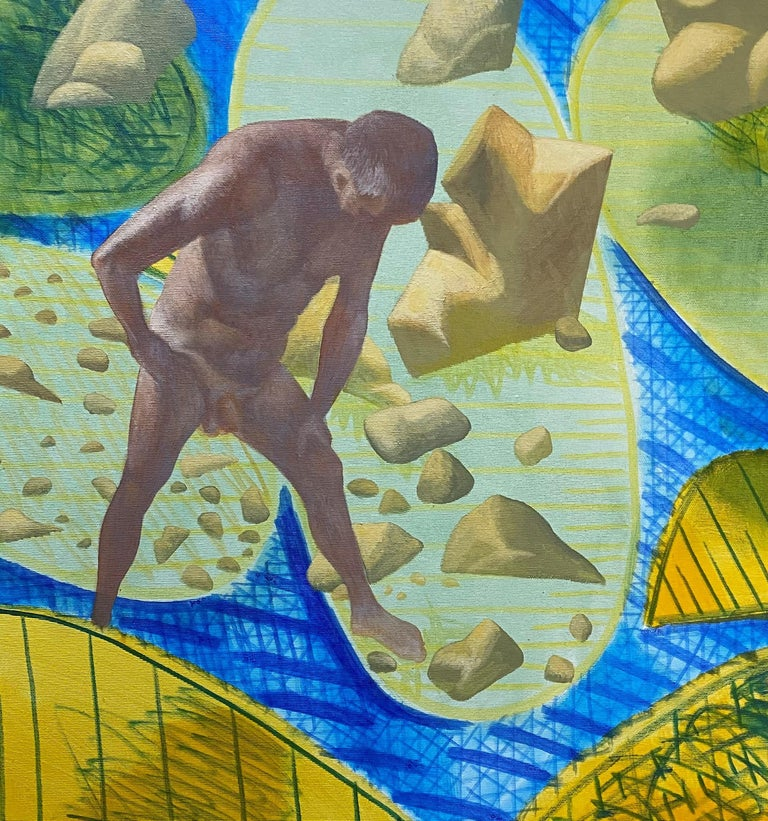 A Quiet Day - Yellow, Green, Blue, Male, Nude, Nature, Contemporary Art - Brown Figurative Painting by Alexandru Rădvan
