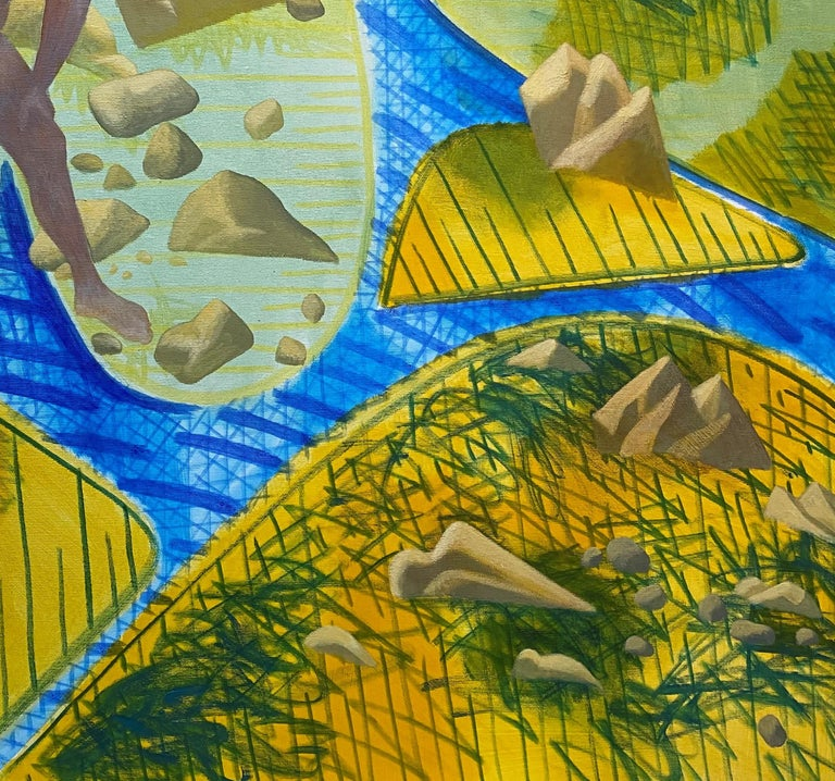 A Quiet Day - Yellow, Green, Blue, Male, Nude, Nature, Contemporary Art For Sale 1