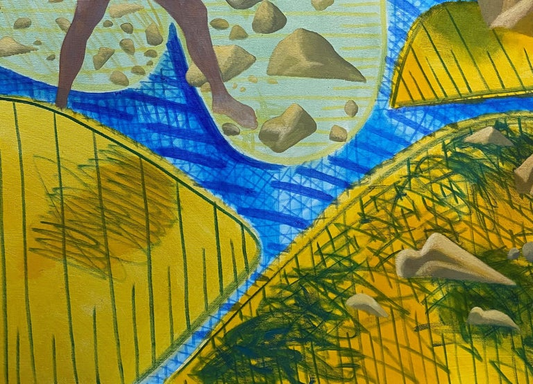 A Quiet Day - Yellow, Green, Blue, Male, Nude, Nature, Contemporary Art For Sale 2