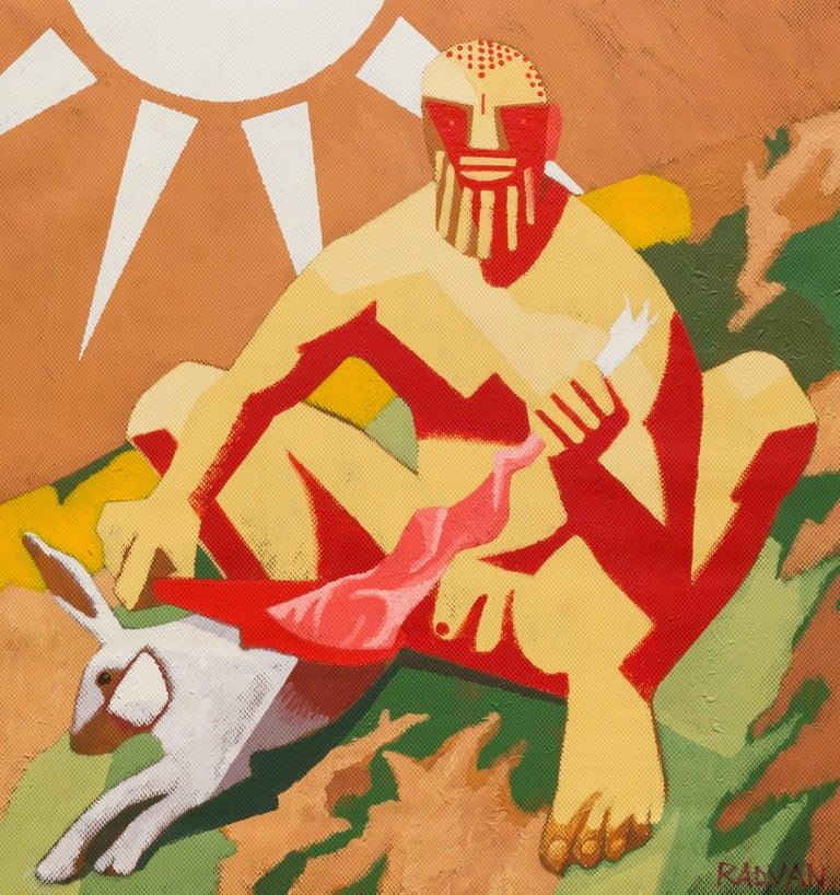 Archaic Hercules Skinning a Rabbit - Contemporary, Sun, Rabbit, Red, Yellow - Painting by Alexandru Rădvan