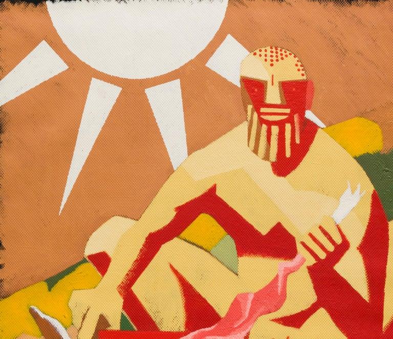 Archaic Hercules Skinning a Rabbit - Contemporary, Sun, Rabbit, Red, Yellow - Orange Animal Painting by Alexandru Rădvan