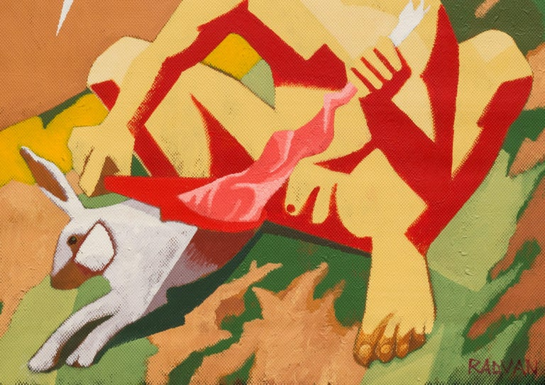 Archaic Hercules Skinning a Rabbit, 2019 Acrylic on canvas 53.14 H x 55.11 W in. 135 H x 140 W cm  In classical mythology, Hercules is famous for his strength and his numerous far-ranging adventures.  Hercules is a multifaceted figure with