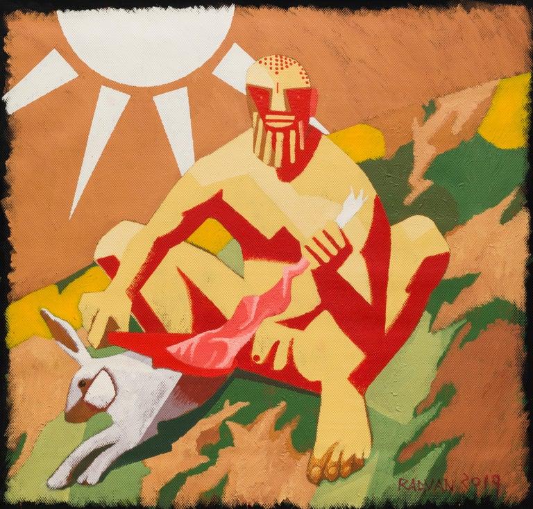 Alexandru Rădvan Animal Painting - Archaic Hercules Skinning a Rabbit - Contemporary, Sun, Rabbit, Red, Yellow