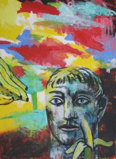 Banana - Contemporary Art, Red, Yellow, Blue, Portrait, Figurative Art, Hero
