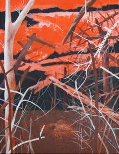 Descriptive 1 - Contemporary Art, Nature, Landscape, Orange, Brown, Trees