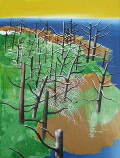 Descriptive 2 - Contemporary, Landscape, Nude, Trees, Green, Yellow, Blue, Water