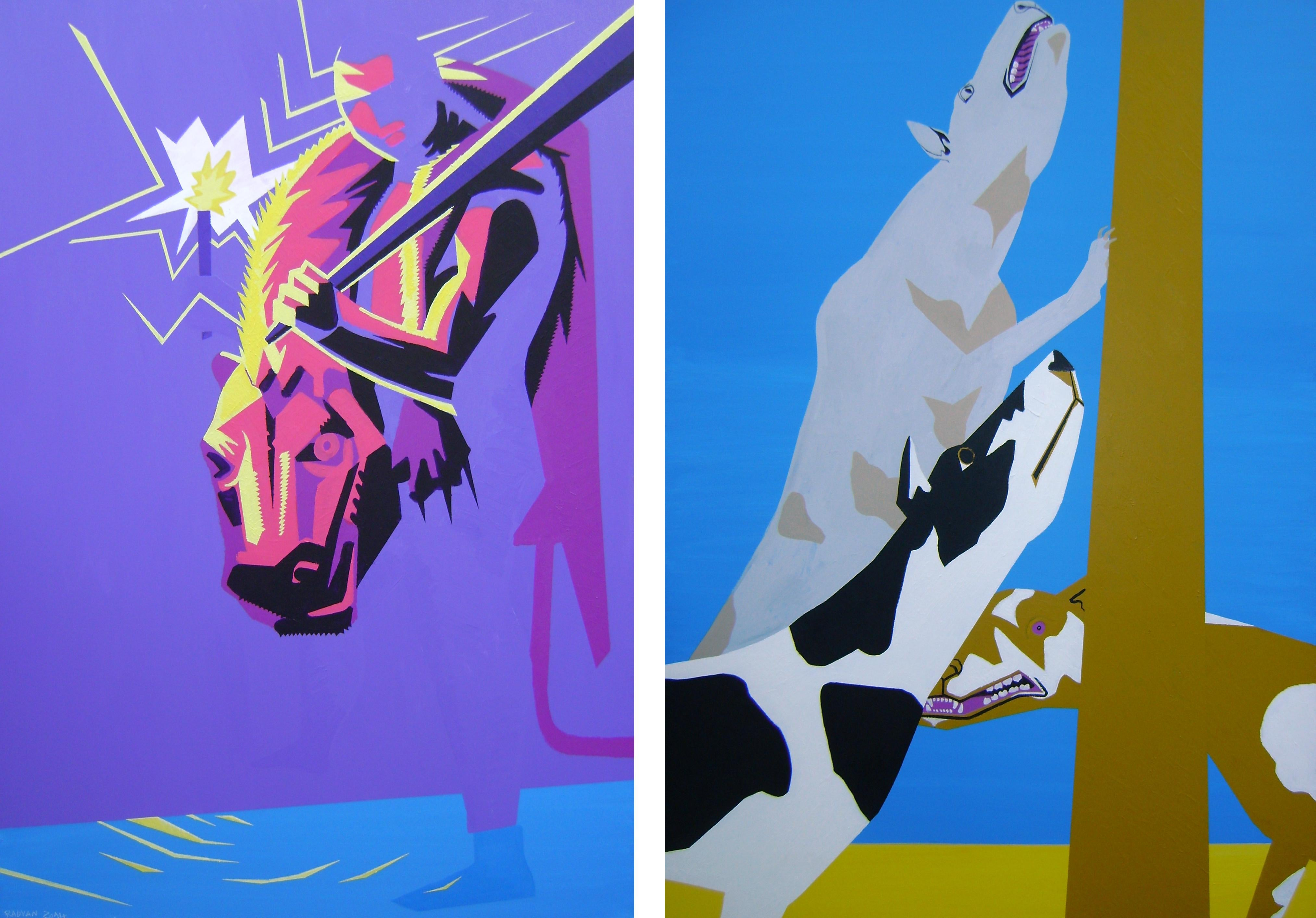 Diptych - 21st Century, Dogs, Figurative Painting, Purple, Pink, Blue, Acrylic