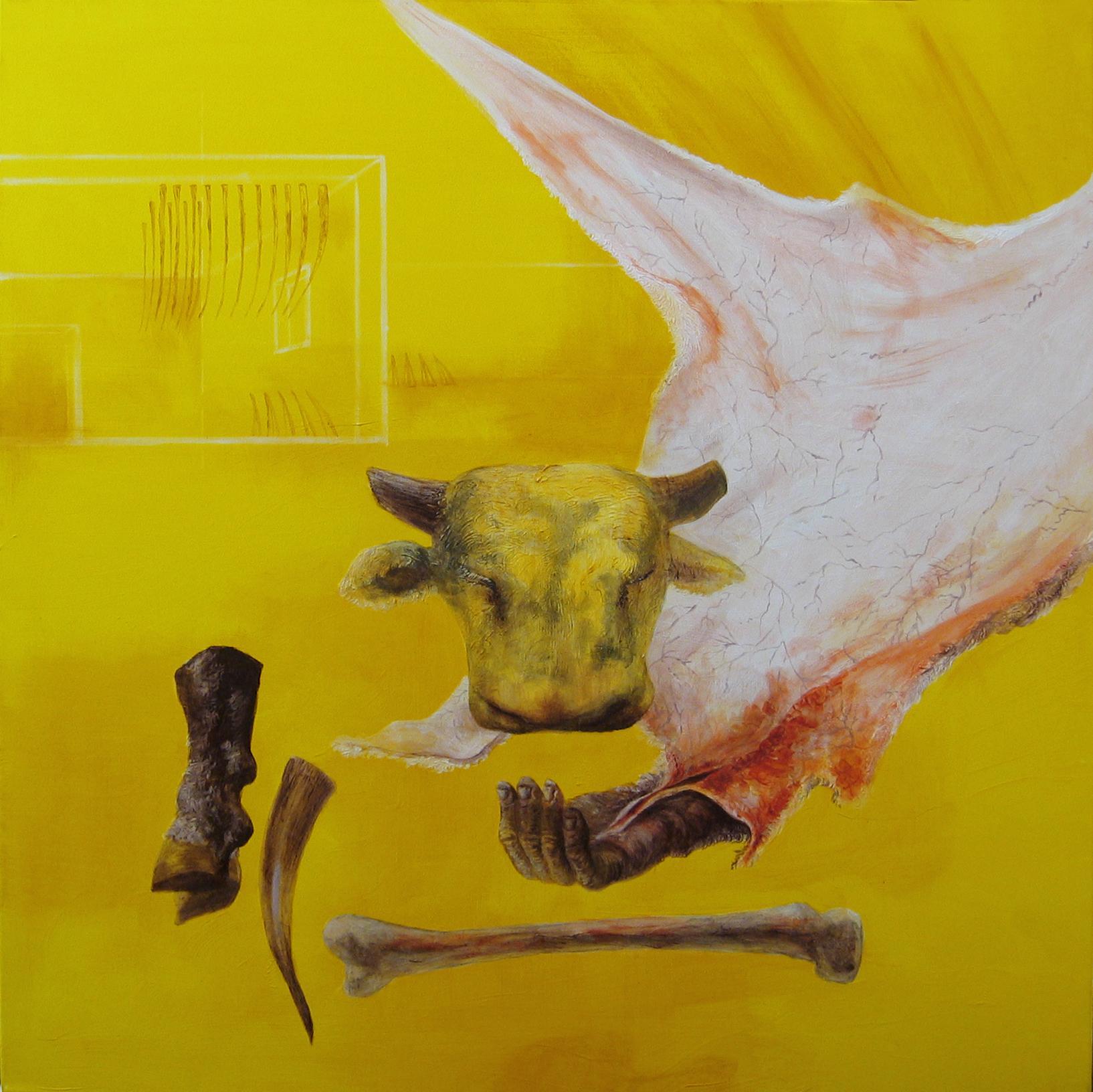 Earth's Skin - 21st Century, Yellow, Figurative Art, Animal, Myth, Contemporary