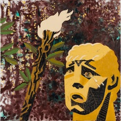 Head Crying in the Wood - 21st Century, Flame, Tears, Hero, Yellow, Figurative