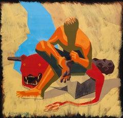 Hercules and Sea Urchin - 21st Century, Sea, Hero, Blue, Yellow, Red, Figurative